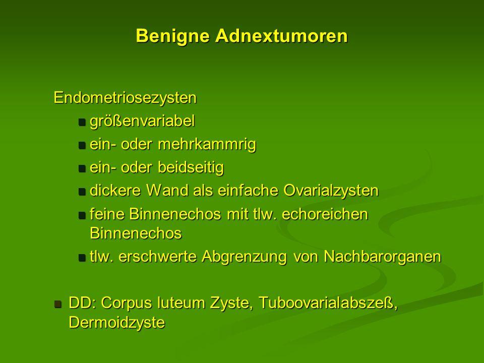 Benigne Adnextumoren Endometriosezysten größenvariabel