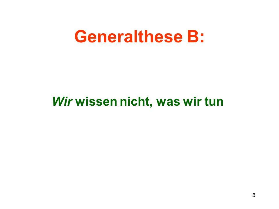 Generalthese B: Wir wissen nicht, was wir tun