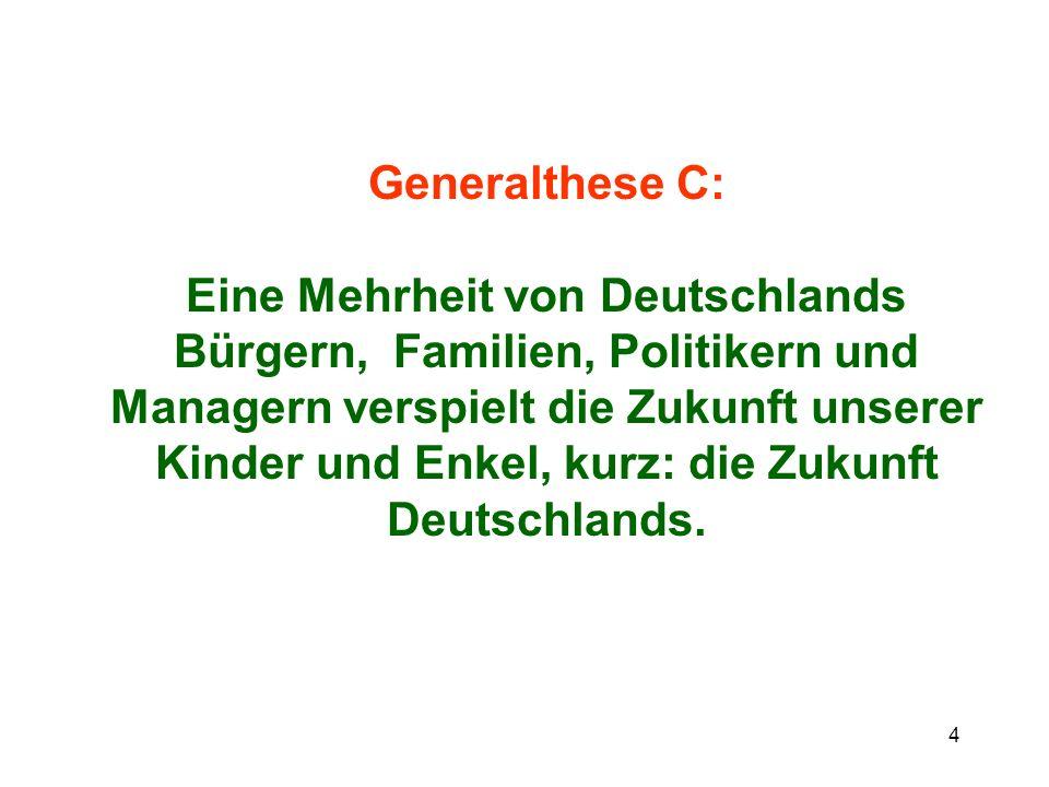Generalthese C: Eine Mehrheit von Deutschlands Bürgern, Familien, Politikern und Managern verspielt die Zukunft unserer Kinder und Enkel, kurz: die Zukunft Deutschlands.