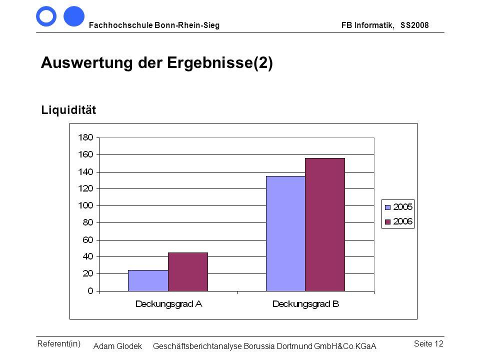 Auswertung der Ergebnisse(2)