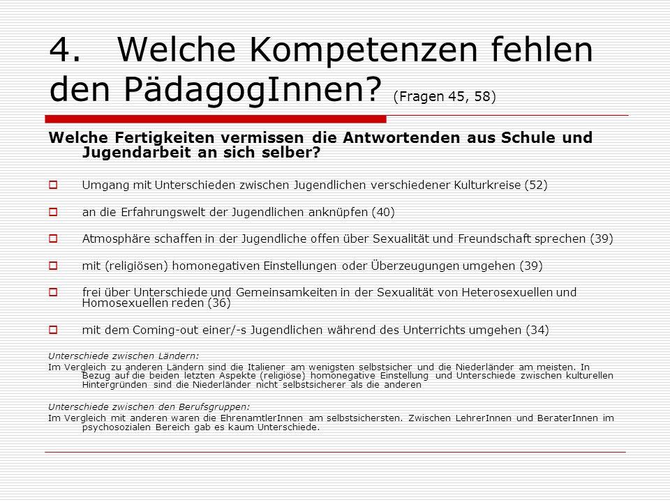 4. Welche Kompetenzen fehlen den PädagogInnen (Fragen 45, 58)