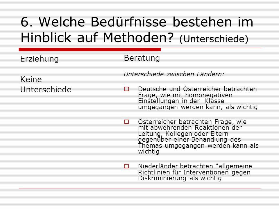 6. Welche Bedürfnisse bestehen im Hinblick auf Methoden (Unterschiede)