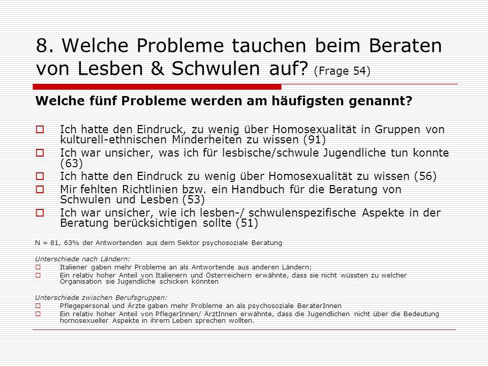 8. Welche Probleme tauchen beim Beraten von Lesben & Schwulen auf