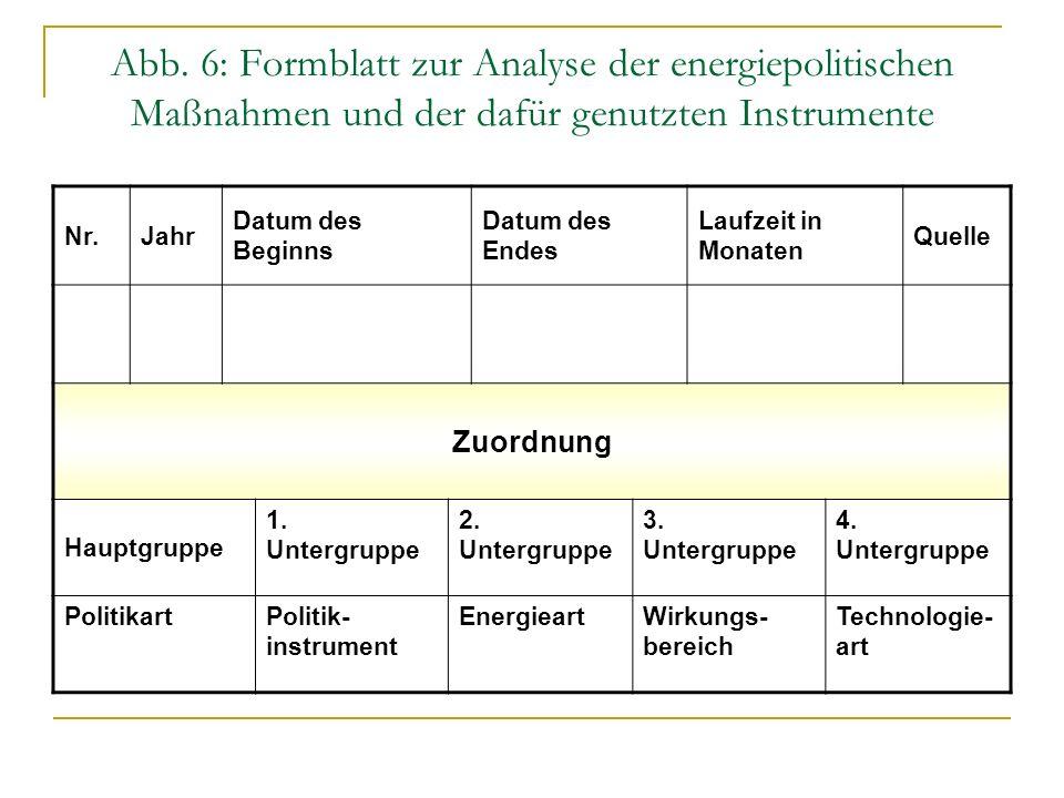 Abb. 6: Formblatt zur Analyse der energiepolitischen Maßnahmen und der dafür genutzten Instrumente