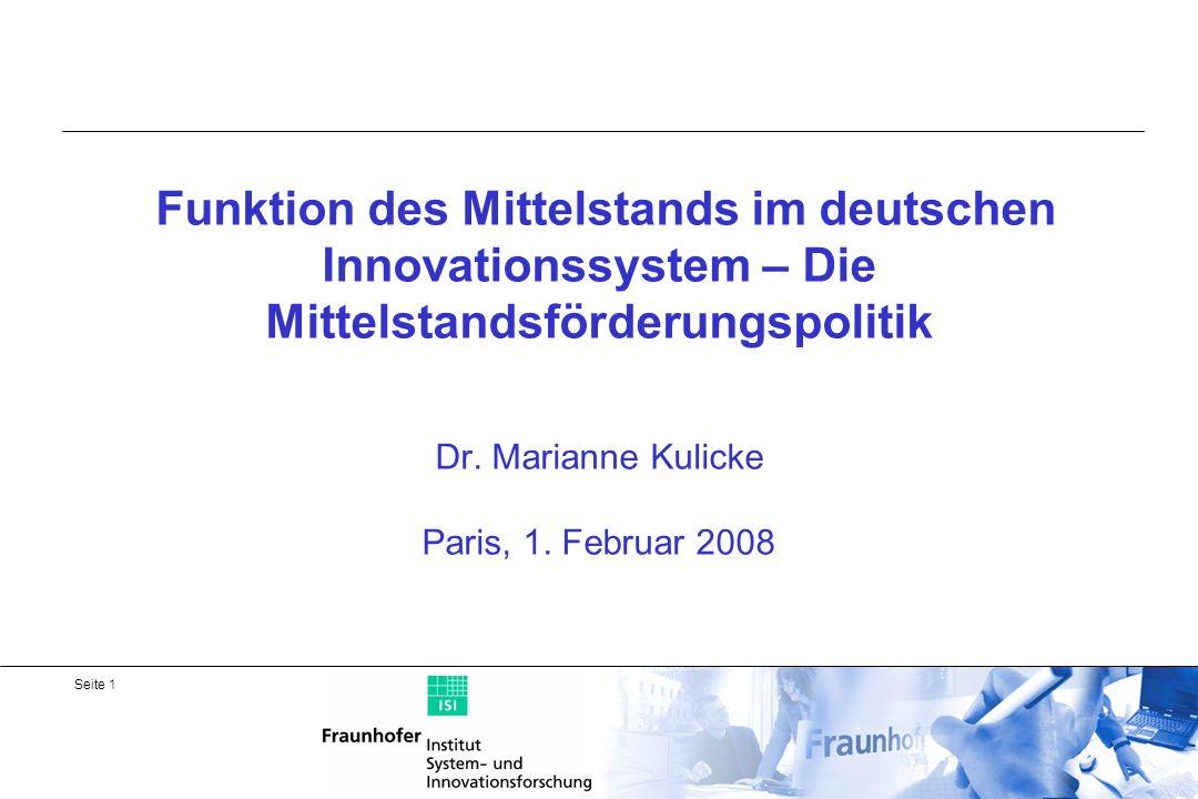 Funktion des Mittelstands im deutschen Innovationssystem – Die Mittelstandsförderungspolitik Dr.