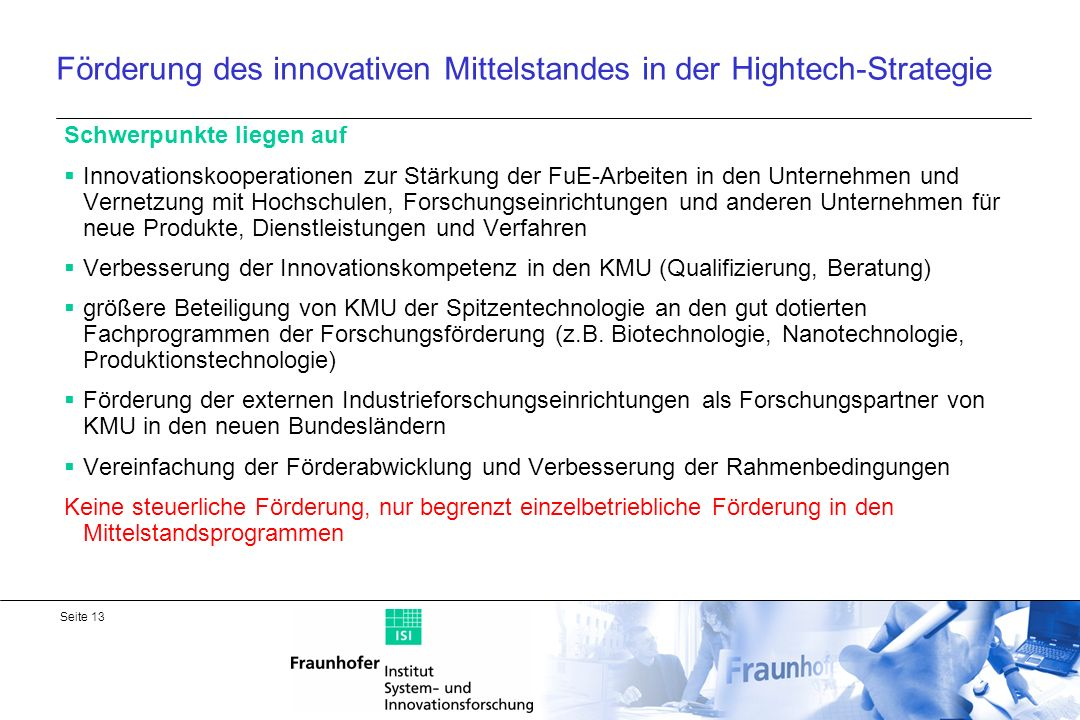 Förderung des innovativen Mittelstandes in der Hightech-Strategie