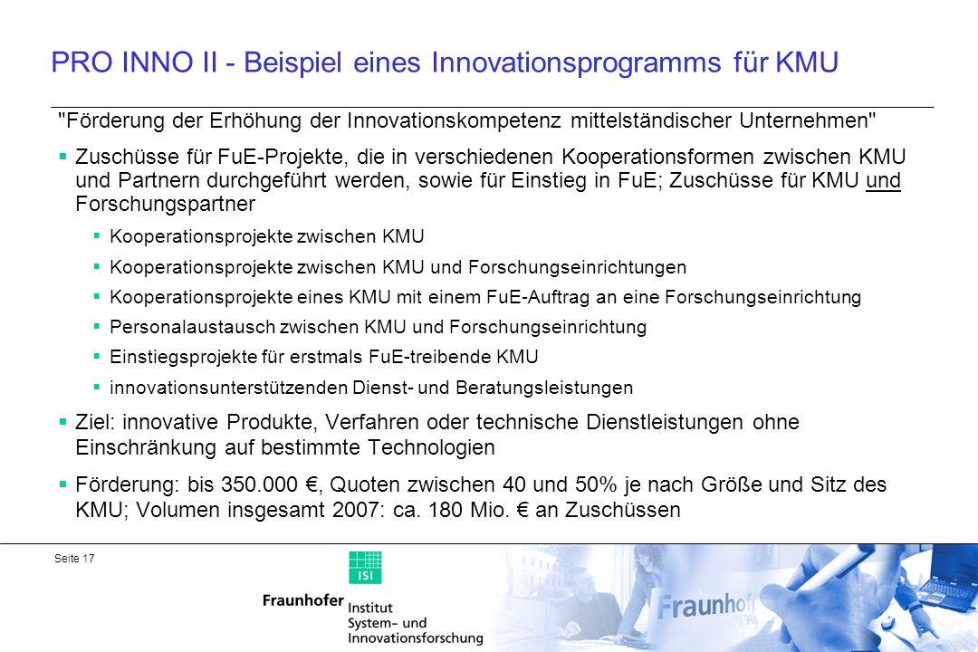 PRO INNO II - Beispiel eines Innovationsprogramms für KMU