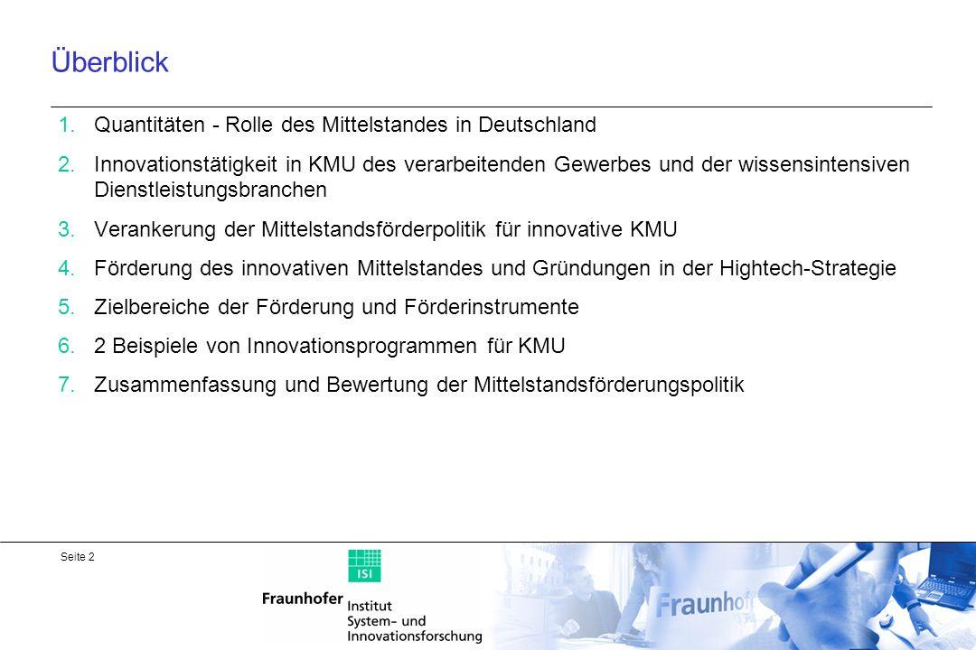 Überblick Quantitäten - Rolle des Mittelstandes in Deutschland