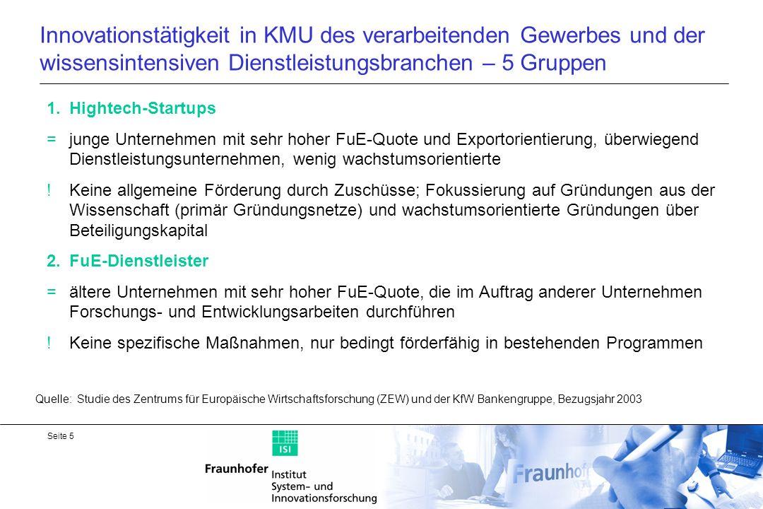 Innovationstätigkeit in KMU des verarbeitenden Gewerbes und der wissensintensiven Dienstleistungsbranchen – 5 Gruppen