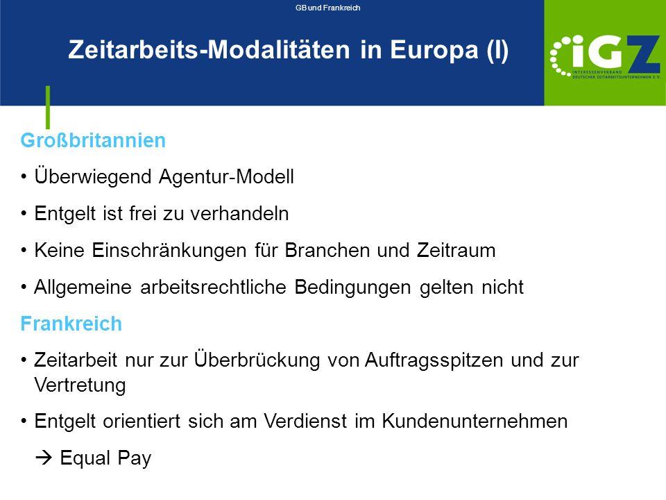 Zeitarbeits-Modalitäten in Europa (I)