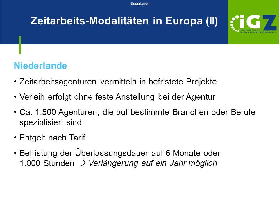Zeitarbeits-Modalitäten in Europa (II)