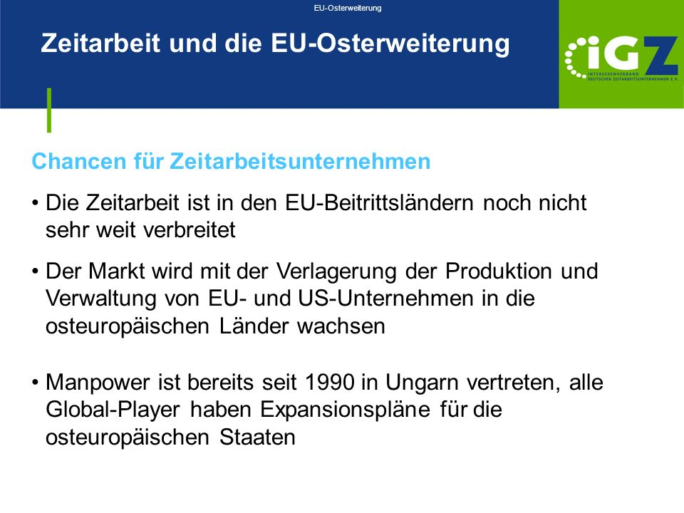 Zeitarbeit und die EU-Osterweiterung