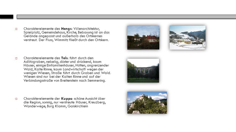 Charakterelemente des Hangs: Villenarchitektur, Spielplatz, Gemeindehaus, Kirche, Bebauung ist an das Gelände angepasst und außerhalb des Ortskernes verstreut. Der Fluss, Wimmitz fließt durch den Ortskern.