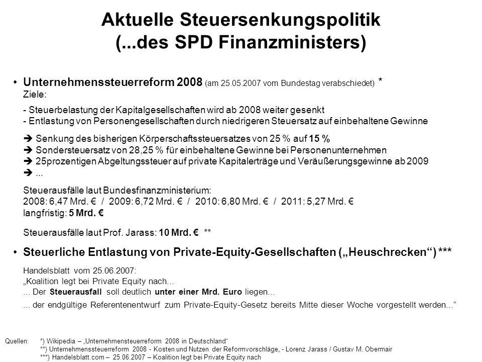 Aktuelle Steuersenkungspolitik (...des SPD Finanzministers)