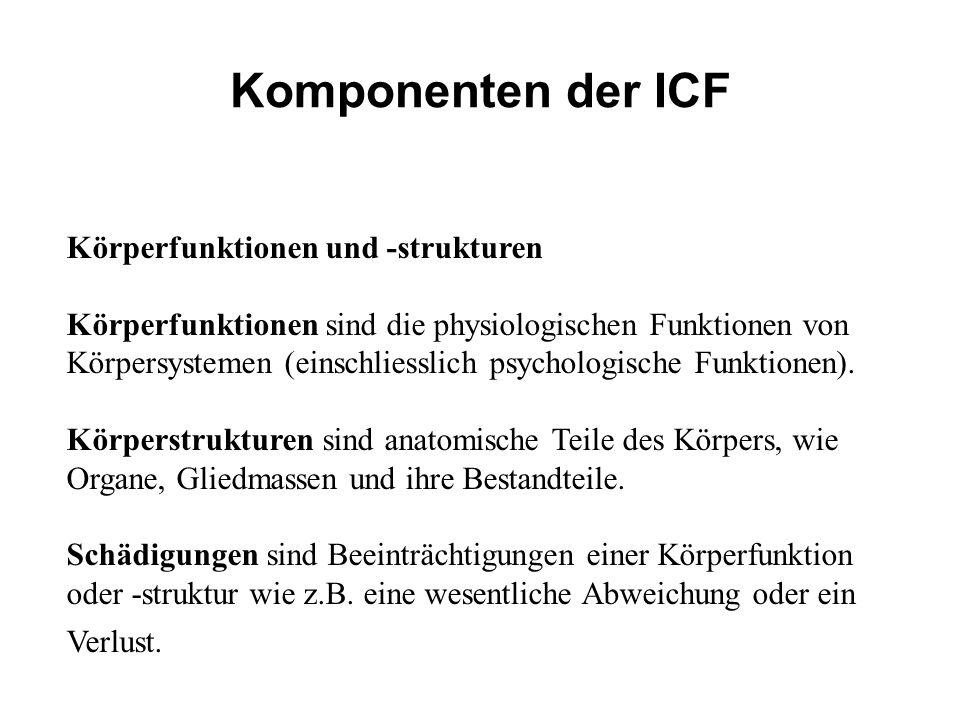 Komponenten der ICF Körperfunktionen und -strukturen