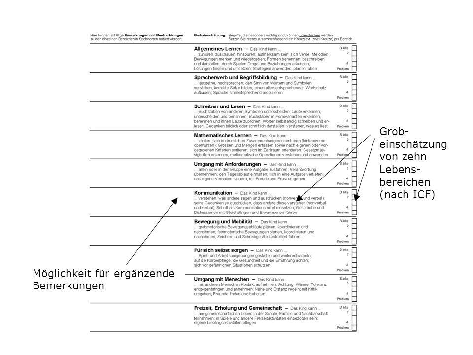 Grob- einschätzung von zehn Lebens- bereichen (nach ICF)