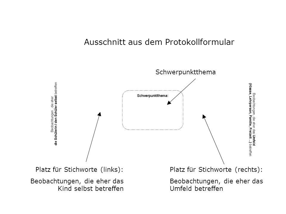 Ausschnitt aus dem Protokollformular