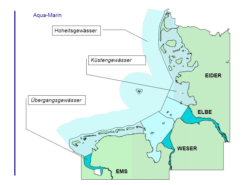 Aqua-Marin Hoheitsgewässer Küstengewässer EIDER Übergangsgewässer ELBE WESER EMS