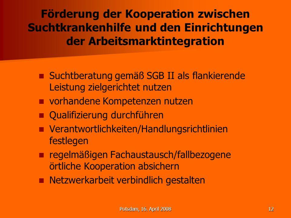 Förderung der Kooperation zwischen Suchtkrankenhilfe und den Einrichtungen der Arbeitsmarktintegration