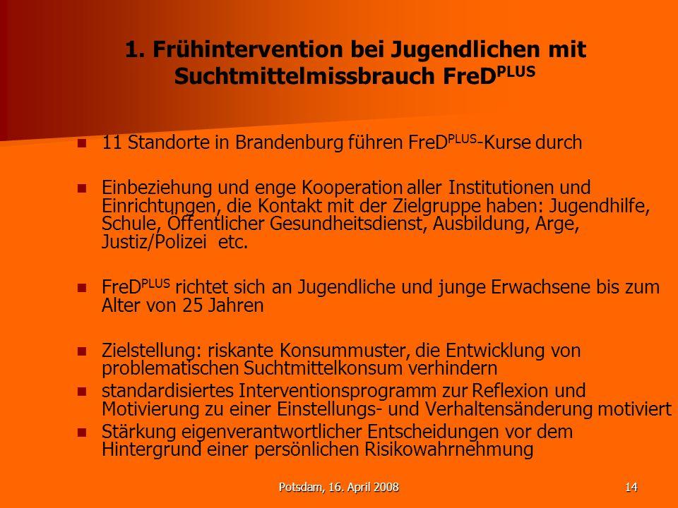 1. Frühintervention bei Jugendlichen mit Suchtmittelmissbrauch FreDPLUS