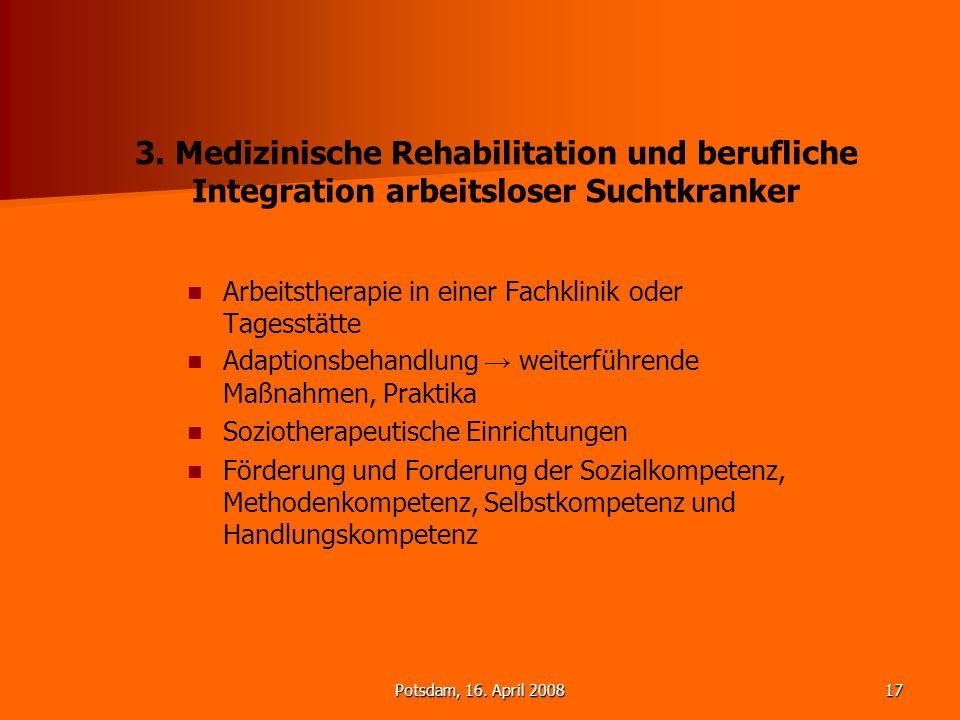 3. Medizinische Rehabilitation und berufliche Integration arbeitsloser Suchtkranker