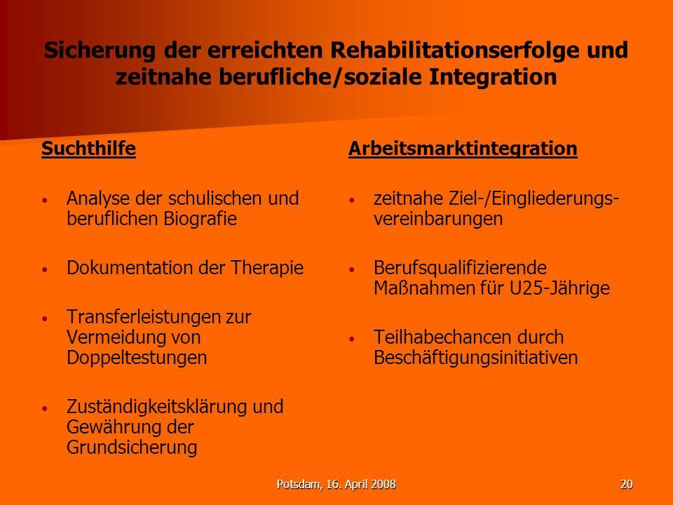 Sicherung der erreichten Rehabilitationserfolge und zeitnahe berufliche/soziale Integration