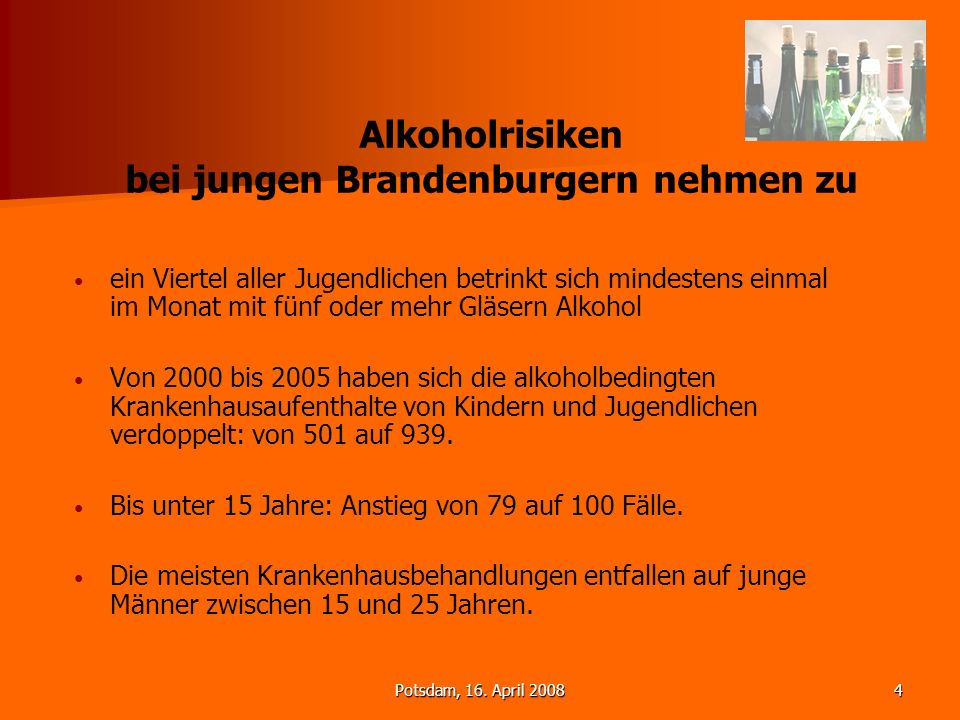 Alkoholrisiken bei jungen Brandenburgern nehmen zu