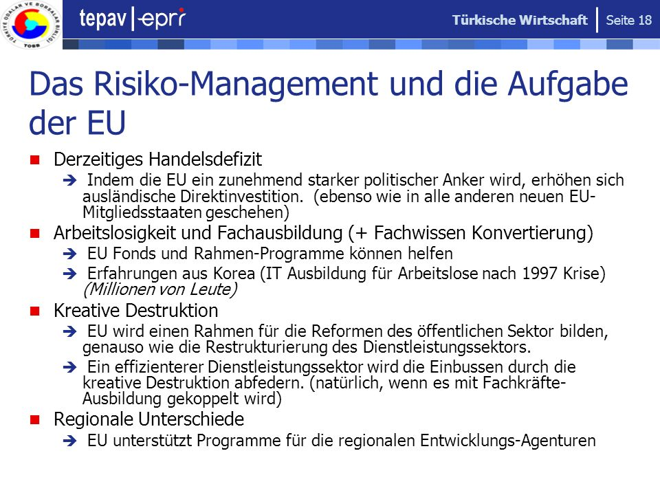 Das Risiko-Management und die Aufgabe der EU