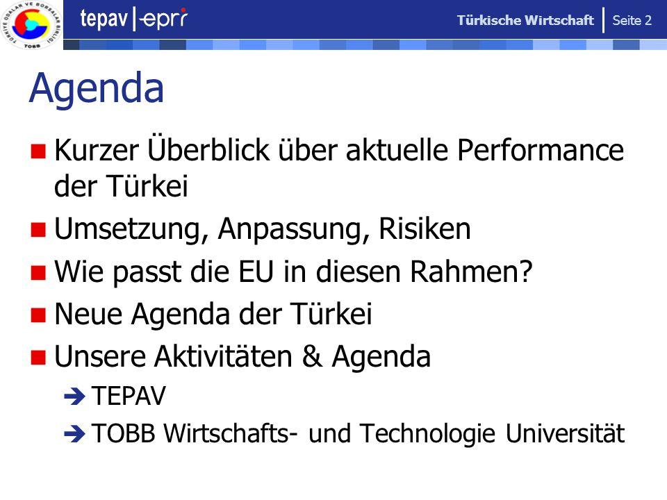 Agenda Kurzer Überblick über aktuelle Performance der Türkei