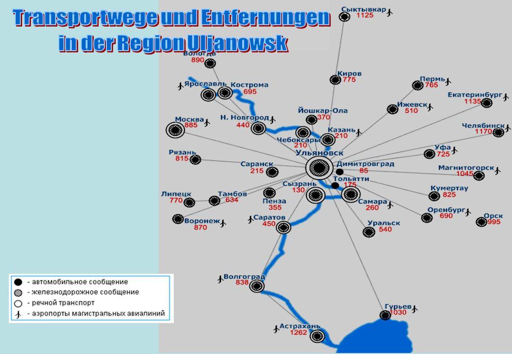 Transportwege und Entfernungen in der Region Uljanowsk