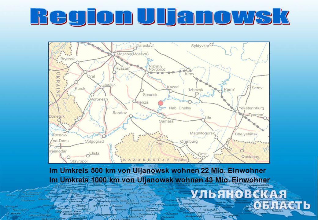 Region Uljanowsk Im Umkreis 500 km von Uljanowsk wohnen 22 Mio.