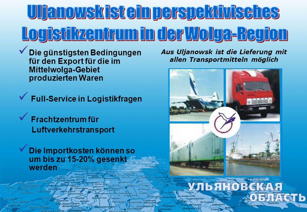 Uljanowsk ist ein perspektivisches Logistikzentrum in der Wolga-Region