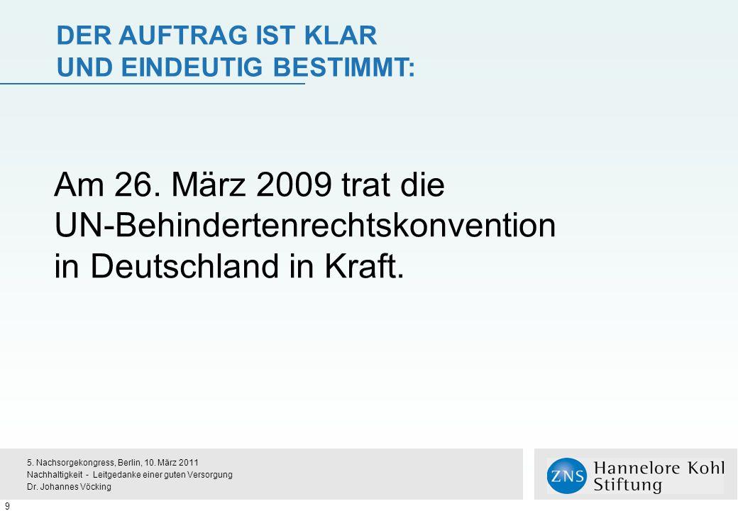 Der Auftrag ist klar und eindeutig bestimmt: Am 26. März 2009 trat die UN-Behindertenrechtskonvention in Deutschland in Kraft.