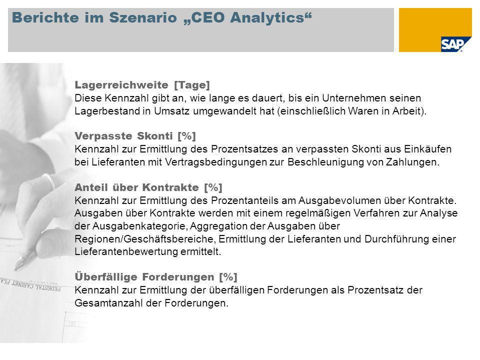 "Berichte im Szenario ""CEO Analytics"
