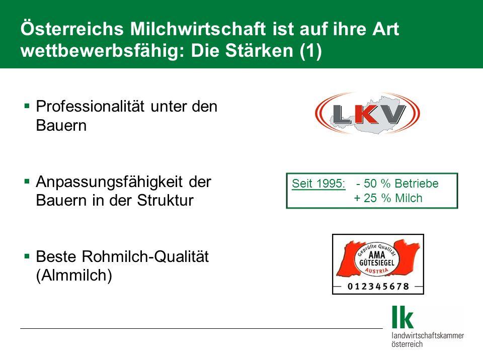 Österreichs Milchwirtschaft ist auf ihre Art wettbewerbsfähig: Die Stärken (1)