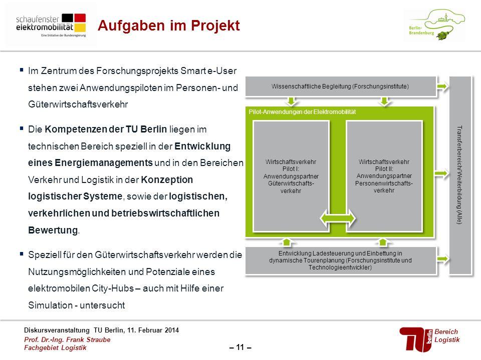 Aufgaben im Projekt Im Zentrum des Forschungsprojekts Smart e-User stehen zwei Anwendungspiloten im Personen- und Güterwirtschaftsverkehr.