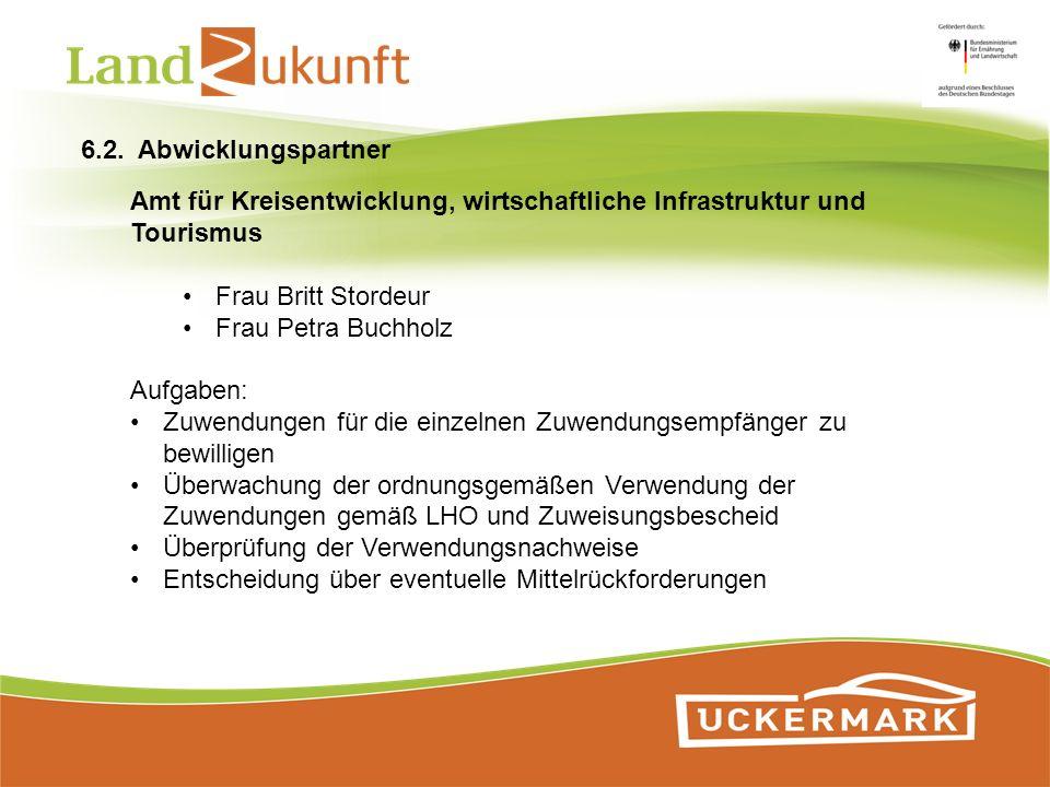 6.2. Abwicklungspartner Amt für Kreisentwicklung, wirtschaftliche Infrastruktur und Tourismus. Frau Britt Stordeur.