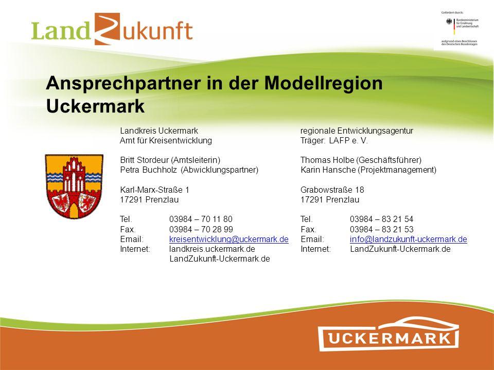 Ansprechpartner in der Modellregion Uckermark