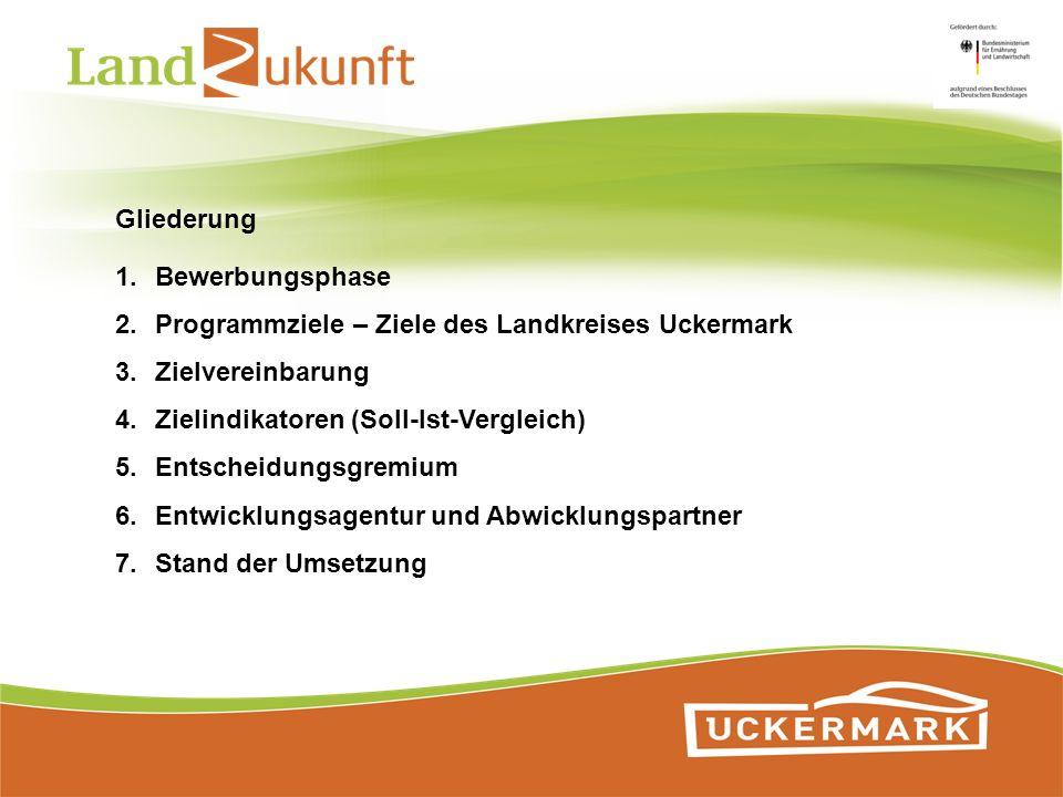 Gliederung Bewerbungsphase. Programmziele – Ziele des Landkreises Uckermark. Zielvereinbarung. Zielindikatoren (Soll-Ist-Vergleich)