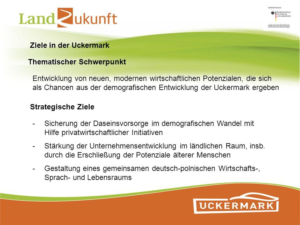 Ziele in der Uckermark Thematischer Schwerpunkt. Entwicklung von neuen, modernen wirtschaftlichen Potenzialen, die sich.