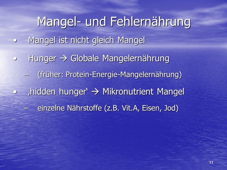 Mangel- und Fehlernährung