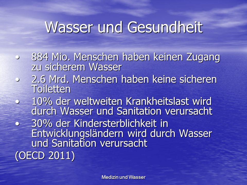 Wasser und Gesundheit 884 Mio. Menschen haben keinen Zugang zu sicherem Wasser. 2.6 Mrd. Menschen haben keine sicheren Toiletten.