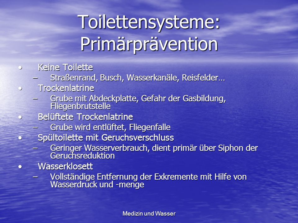 Toilettensysteme: Primärprävention