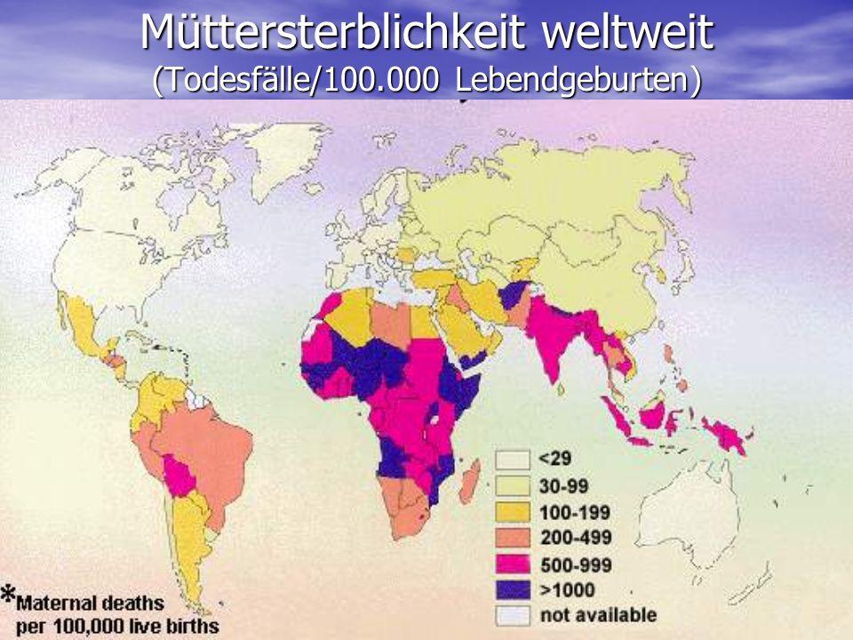 Müttersterblichkeit weltweit (Todesfälle/100.000 Lebendgeburten)