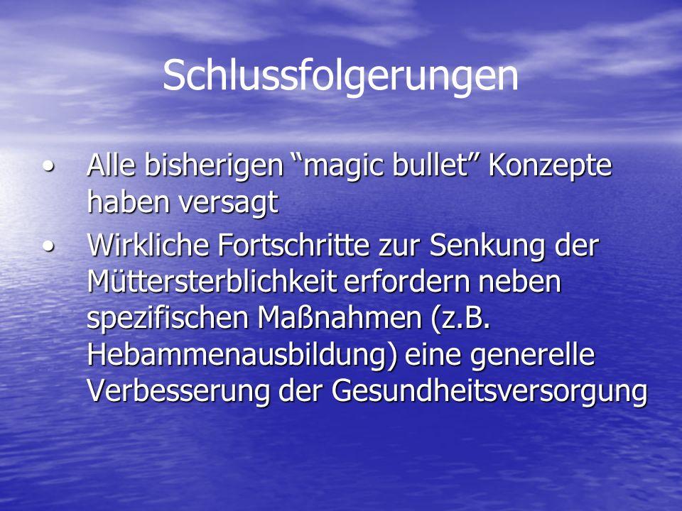 Schlussfolgerungen Alle bisherigen magic bullet Konzepte haben versagt.
