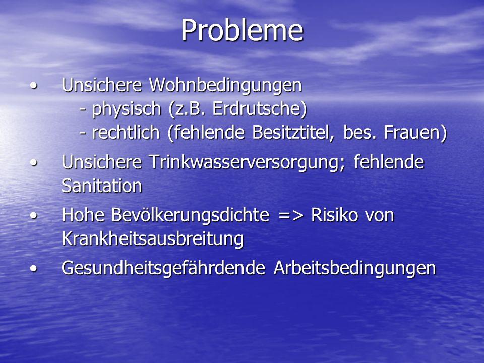 Probleme Unsichere Wohnbedingungen - physisch (z.B. Erdrutsche) - rechtlich (fehlende Besitztitel, bes. Frauen)