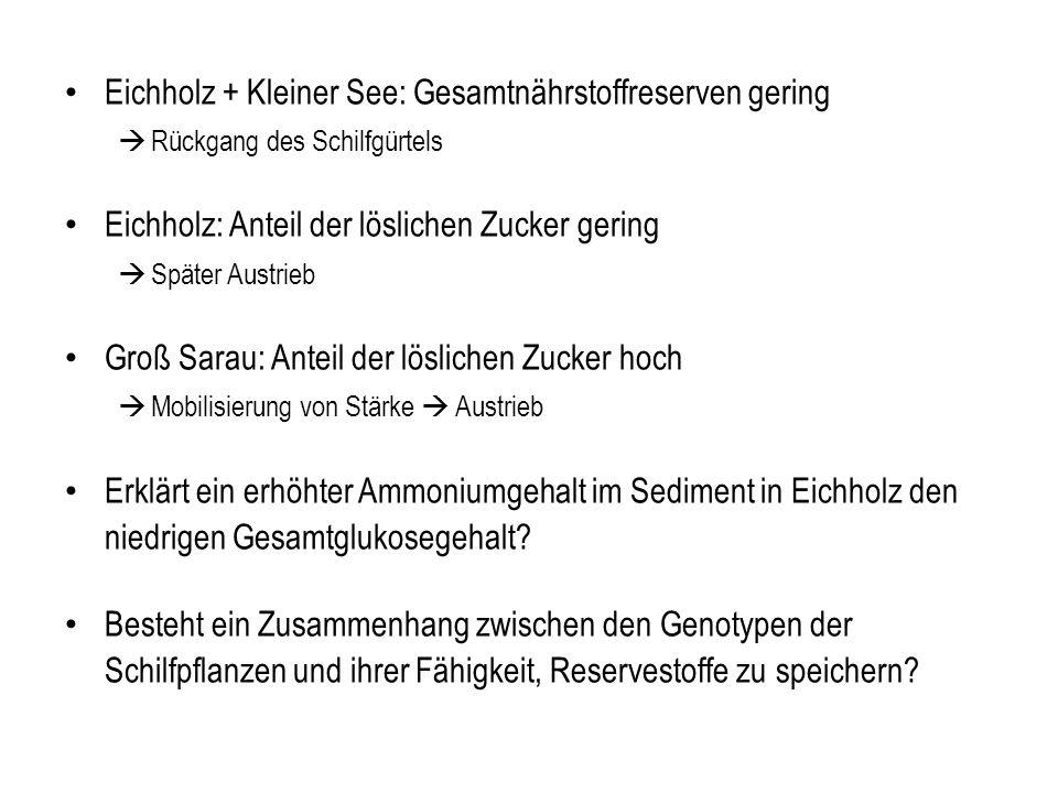 Eichholz + Kleiner See: Gesamtnährstoffreserven gering