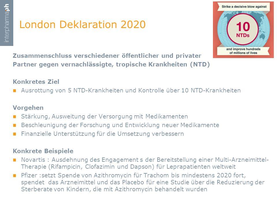 London Deklaration 2020 Zusammenschluss verschiedener öffentlicher und privater. Partner gegen vernachlässigte, tropische Krankheiten (NTD)