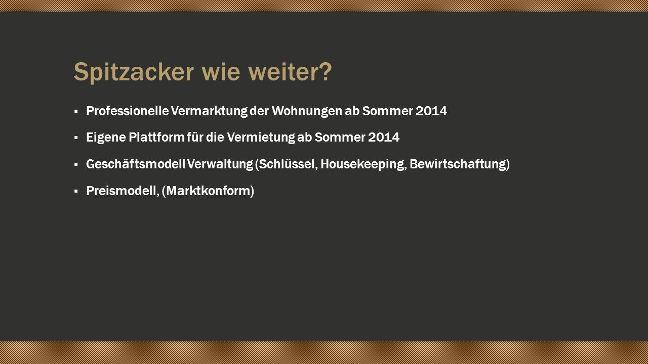 Spitzacker wie weiter Professionelle Vermarktung der Wohnungen ab Sommer 2014. Eigene Plattform für die Vermietung ab Sommer 2014.