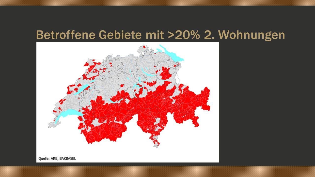 Betroffene Gebiete mit >20% 2. Wohnungen